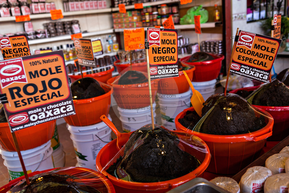 A shop stall at the 20 November Market selling mole sauces in Oaxaca, Mexico.