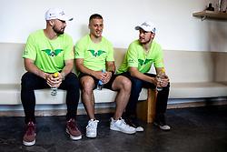 Aleksandar Magovac, Martin Bohinc and Jure Sotlar at press conference of HK SZ Olimpija before new season 2020-21, on June 22, 2020 in Hala Tivoli, Ljubljana, Slovenia. Photo by Matic Klansek Velej / Sportida