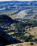 The Little Missouri River from River Bend Overlook, North Unit, Theodore Roosevelt Ntonal Park, North Dakota.