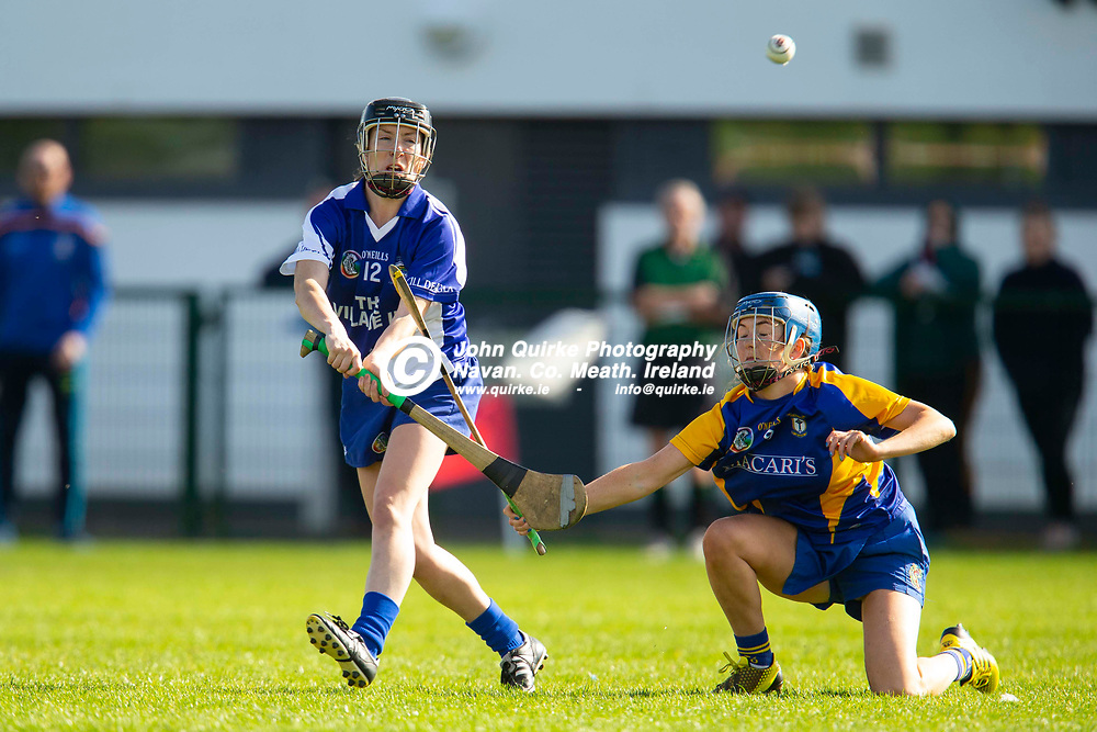 29/09/2018, Meath Camogie Championship intermediate final at St Lomans Park, Trim.<br /> Kildalkey vs Ratoath<br /> Blathnaid Keogh (Kildalkey) & Emma McGill (Ratoath)<br /> Photo: David Mullen / www.quirke.ie ©John Quirke Photography, Unit 17, Blackcastle Shopping Cte. Navan. Co. Meath. 046-9079044 / 087-2579454.<br /> ISO: 500; Shutter: 1/1250; Aperture: 5<br /> File Size: 2.5MB<br /> Print Size: 8.6 x 5.8 inches
