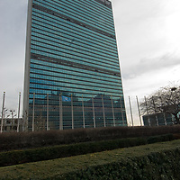 The United Nations Building stands in east Manhattan, New York, New York.