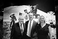Garden City, New York, U.S. June 6, 2019. L-R, Apollo 13 astronaut FRED HAISE, PETER KELLY and KELLY KELLY, pose in front of Apollo 11 moon landing mural at Cradle of Aviation Museum during Apollo at 50 Anniversary Dinner, an Apollo astronaut tribute celebrating the Apollo 11 mission Moon landing. Pete Kelly is youngest son of the late Thomas J. Kelly, who led the design team for the Lunar Module, and NASA calls the Father of the Lunar Module.