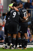 Photo: Paul Thomas.<br /> Blackburn Rovers v Chelsea. The Barclays Premiership. 27/08/2006.<br /> <br /> Didier Drogba and Chelsea celebrates his goal.