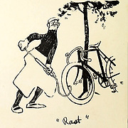 Puncture. On the road maintenance From the Book Das Narrenrad : Album fröhlicher Radfahrbilder [The fool's wheel: album of happy cycling pictures] by Feininger, Lyonel, 1871-1956, illustrator; Heilemann, Ernst, 1870- illustrator; Hansen, Knut, illustrator; Fürst, Edmund, 1874-1955, illustrator; Edel, Edmund, illustrator; Schnebel, Carl, illustrator; Verlag Otto Elsner, printer. Published in Germany in 1898