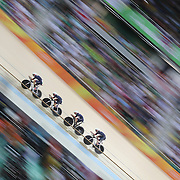 Track Cycling - Olympics: Day 8  The Great Britain team of Katie Archibald, Laura Trott, Elinor Barker and Joanna Rowsell-Shand winning the gold medal during the Women's Team Pursuit Final during the track cycling competition at the Rio Olympic Velodrome August 12, 2016 in Rio de Janeiro, Brazil. (Photo by Tim Clayton/Corbis via Getty Images)