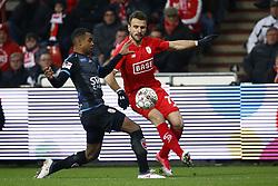 February 11, 2018 - France - Orlando Sa forward of Standard Liege and Nathan De Medina defender of Royal Excel Mouscron (Credit Image: © Panoramic via ZUMA Press)