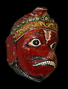 Wooden dance mask depicting the Hindu monkey god, Hanuman. 20th Century, Orissa in India.