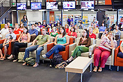 23 JULY 2009 -- PHOENIX, AZ: About 35 people gathered at ASU's Cronkite School Thursday to watch the live feed of the funeral of the school's namesake. Legenday CBS anchor Walter Cronkite died Friday, July 17.  PHOTO BY JACK KURTZ