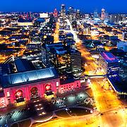 Drone's eye view of downtown Kansas City Missouri at dusk