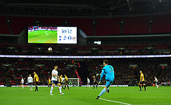 Joe Day of Newport County takes a goal kick inside a half full wembley.  - Mandatory by-line: Alex James/JMP - 07/02/2018 - FOOTBALL - Wembley Stadium - London, England - Tottenham Hotspur v Newport County - Emirates FA Cup fourth round proper