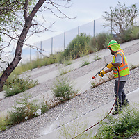 A New Mexico Department of Transportation employee sprays herbicide on weeds growing on the embankment of Interstate Highway 40 along Maloney Avenue in Gallup Wednesday.