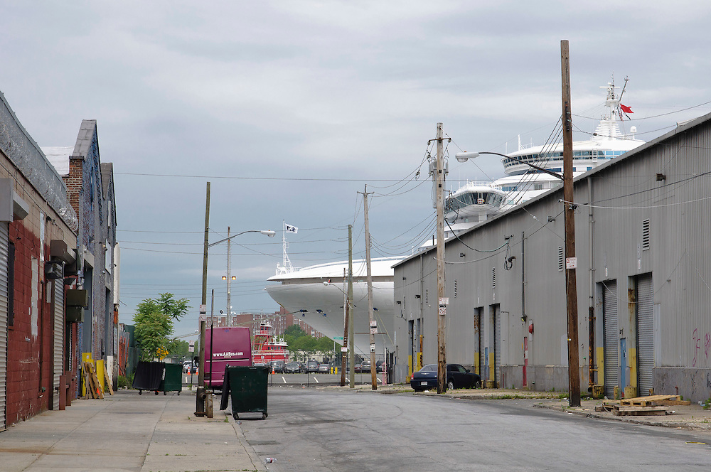 A cruise ship is docked in Red Hook Terminal, Brooklyn