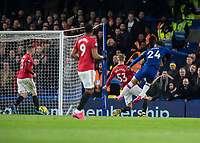 Football - 2019 / 2020 Premier League - Chelsea vs. Manchester United<br /> <br /> Reece James (Chelsea FC) has an early strike at the Manchester United goal at Stamford Bridge <br /> <br /> COLORSPORT/DANIEL BEARHAM