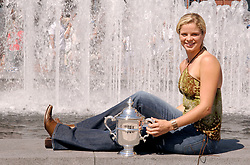 Belgium's Kim Clijsters poses with the champion's trophy at the 2005 US Open tennis tournament held at the Arthur Ashe stadium in Flushing Meadows, New York City, USA, on September 11, 2005. Photo by Corinne Dubreuil/Cameleon/ABACAPRESS.COM
