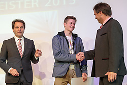02.10.2015, Nussdorf Gebannt, AUT, Empfang für UCI Juniorenweltmeister Felix Gall, im Bild Franz Theurl (Obmann TVB Osttirol), UCI Juniorenweltmeister Felix Gall, BGM Ing. Andreas Pfurner // during the official reception for the UCI Junior World Champion Felix Gall in his home town. Nussdorf Decant, Austria on 2015/10/02. EXPA Pictures © 2015, PhotoCredit: EXPA/ Johann Groder