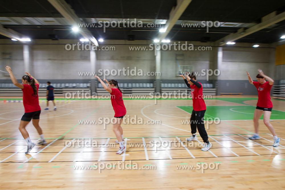 Jelena Grubisic and Sergeja Stefanisin during practice session of handball club RK Krim Mercator  at the beginning of new season 2012/13, on August 21, 2012 in Arena Stozice, Ljubljana, Slovenia. (Photo by Vid Ponikvar / Sportida.com)