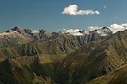 View of Mount Vallier (left) Pic de Maubermé (right) and surrounding massif from the Pic de la Calabasse near Saint-Lary, Ariege, Pyrenees, France.