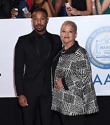 Annie Ilonzeh at the 49th NAACP Image Awards held at the Pasadena Civic Auditorium on January 15, 2018 in Pasadena, CA ©TArroyo/AFF-USA.com. 15 Jan 2018 Pictured: Michael B. Jordan and Donna Jordan. Photo credit: MEGA TheMegaAgency.com +1 888 505 6342