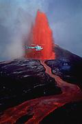Helicopter, Kilauea Volcano, Hawaii Volcanoes National Park, Island of Hawaii, Hawaii, USA<br />