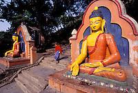 Nepal. Vallee de Katmandou. Stupa de Swayambunath. // Nepal. Kathmandu valley. Swayambunath stupa.