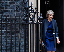 © Licensed to London News Pictures. 19/10/2017. London, UK. British prime minister THERESA MAY leaves 10 Downing Street in London ahead of a European Union summit  in Brussels. Photo credit: Ben Cawthra/LNP