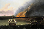 Dutch warships burning the English fleet in Chatham docks,  June 1667. Circle of Rudoff Bajkhaysen (1631-1708), Dutch painter. Oil on canvas.  Under Admiral de Ruyter a flotilla of Dutch ships broke the chains guarding the river Medway and  sailed up the river and destroyed the English fleet. Second Angl0-Dutch War, 1665-1667.
