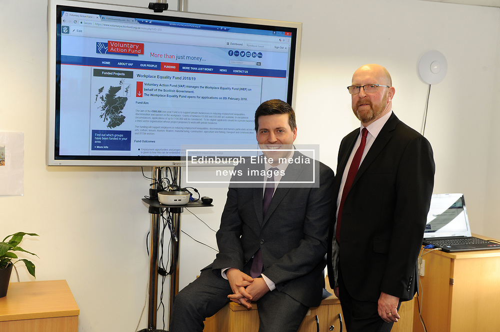 Employability Minister Jamie Hepburn visited the head offices of the Voluntary Action Fund (VAF) to open applications for the Workplace Equality Fund.<br /> <br /> The £500,000 fund will offer grants to private and third sector organisations to reduce employment inequalities, discrimination and barriers for minority ethnic people, women, disabled people and older workers.<br /> <br /> During the visit the Minister met staff from VAF, took a tour of the facility and received a demonstration of the online application system.<br /> <br /> Jamie Hepburn MSP with Keith Wimbles Chief Exec VAF<br /> <br /> (c) David Wardle   Edinburgh Elite media