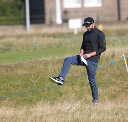 Jamie Dornan goes to get his ball, playing the first hole. Alfred Dunhill Links Championship this morning at Championship Course at Carnoustie.