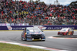 October 7, 2018 - Bathurst, NSW, U.S. - BATHURST, NSW - OCTOBER 07: Jamie Whincup / Paul Dumbrell in the Red Bull Holden Racing Team Holden Commodore around the first corner at the Supercheap Auto Bathurst 1000 V8 Supercar Race at Mount Panorama Circuit in Bathurst, Australia on October 07, 2018 (Photo by Speed Media/Icon Sportswire) (Credit Image: © Speed Media/Icon SMI via ZUMA Press)