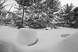 """Just before Sundown. The """"Table of Snow"""" in my backyard in the aftermath of yet another Major Snow Storm. 27 January 2011"""