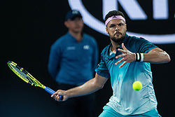 January 17, 2019 - Melbourne, VIC, U.S. - MELBOURNE, VIC - JANUARY 17: JO-WILFRIED TSONGA (FRA) during day four match of the 2019 Australian Open on January 17, 2019 at Melbourne Park Tennis Centre Melbourne, Australia (Photo by Chaz Niell/Icon Sportswire) (Credit Image: © Chaz Niell/Icon SMI via ZUMA Press)