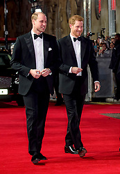 The Duke of Cambridge and Prince Harry attending the european premiere of Star Wars: The Last Jedi held at The Royal Albert Hall, London.<br /> Picture date: Tuesday December 12, 2017. See PA story SHOWBIZ StarWars. Photo credit should read: Matt Crossick/PA Wire