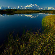 Enormous Denali / Mt. McKinley and its mirror image in Reflection Pond.