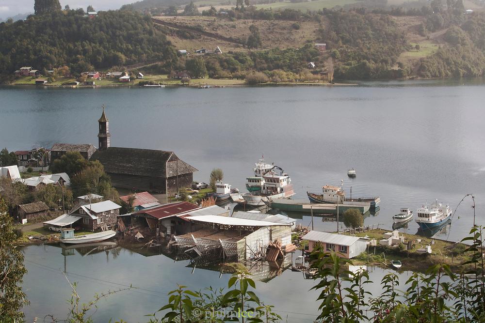 San Juan Church and boats on Chiloe Island, Chile