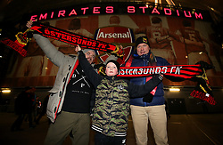 Ostersunds FK fans pose for a picture outside the stadium prior to the match
