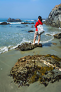 Woman exploring the coast at Sand Dollar Beach, Los Padres National Forest, Big Sur, California USA