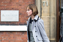 © Licensed to London News Pictures. 15/11/2017. Wakefield, UK. Corpus Christi Catholic school teacher Sinead Miley leaves the Ann Maguire inquest at Wakefield Coroners Court this today. Mrs Maguire, a 61 year old Spanish teacher, was stabbed to death by Will Cornick at Corpus Christi Catholic College in Leeds in April 2014. The school pupil, who was 15 at the time, admitted murdering Mrs Maguire and was given a life sentence later that year. Since then, some of Mrs Maguire's family have campaigned for further investigation into her death as they believe more could have been done to prevent the tragedy. Photo credit: Andrew McCaren/LNP