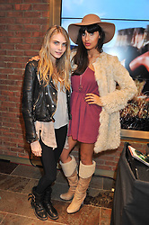 Left to right, CARA DELEVINGNE and JAMEELA JAMIL at a party to celebrate the opening of the new UGG Australia Flagship store at 5-7 Brompton Road, London on 2nd November 2011.
