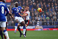 Arouna Kone of Everton and Lee Cattermole of Sunderland battle for the ball. Barclays Premier League match, Everton v Sunderland at Goodison Park in Liverpool on Sunday 1st November 2015.<br /> pic by Chris Stading, Andrew Orchard sports photography.