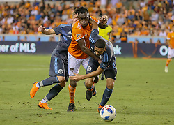 May 25, 2018 - Houston, TX, U.S. - HOUSTON, TX - MAY 25:  Houston Dynamo forward Alberth Elis (17) and New York City defender Alexander Callens (6) fight for ball during the MLS match between the New York FC and Houston Dynamo on May 25, 2018 at BBVA Compass Stadium in Houston, Texas.  (Photo by Leslie Plaza Johnson/Icon Sportswire) (Credit Image: © Leslie Plaza Johnson/Icon SMI via ZUMA Press)