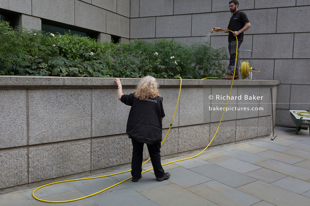 Employees of the Broadgate development water shrubs on Sun Street in the City of London, the capital's financial district - aka the Square Mile, on 8th August, in London, England.