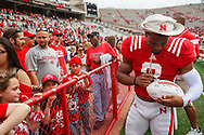 Ameer Abdullah signs autographs during the 2014 Spring Game at Memorial Stadium © Aaron Babcock