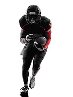 one american football player runner running in silhouette shadow on white background