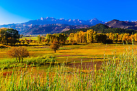 Ranch land near Ridgway, Colorado USA with the Sneffels Range in the San Juan Mountains in the background.