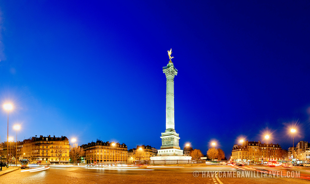Panorama of July Column in the Place de la Bastille in Paris at night