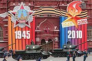 Moscow, Russia, 06/05/2010..Soviet World War Two era T-34 tanks drive through Red Square during a rehearsal for the forthcoming May 9 Victory Day parade, scheduled to be the largest for many years.