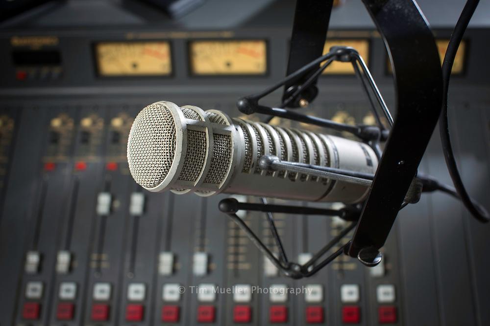 Radio studio microphone of NPR affiliate WRKF-FM in Baton Rouge, Louisiana.