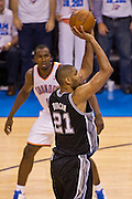 June 2, 2012; Oklahoma City, OK, USA; San Antonio Spurs forward Tim Duncan (21) takes a shot during a playoff game against the Oklahoma City Thunder  at Chesapeake Energy Arena.  Thunder defeated the Spurs 109-103 Mandatory Credit: Beth Hall-US PRESSWIRE
