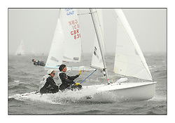 470 Class European Championships Largs - Day 2.Wet and Windy Racing in grey conditions on the Clyde..SUI12, Fiona TESTUZ, Anne-sophie THILO, Club Nautique Pully...