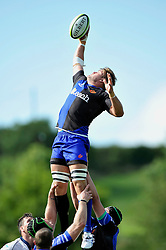 Lewis Evans (Dragons) rises high to win lineout ball - Photo mandatory by-line: Patrick Khachfe/JMP - Mobile: 07966 386802 17/08/2014 - SPORT - RUGBY UNION - Bristol - Clifton Rugby Club - Bristol Rugby v Newport Gwent Dragons - Pre-Season Friendly